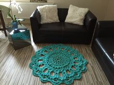 Crochet rug turquoise TUTORIAL http://youtu.be/Ta97CDpS1Hs