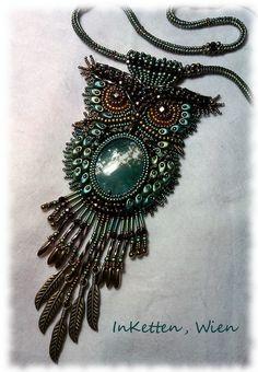 InKetten: Bead Embroidery; Waldkauz