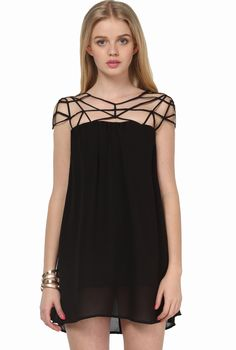 I like the detail on the top of this dress. Although it's a little short for me... probably wear it as a shirt :) » Black Girl Cut Out Shift Chiffon Mini Dress