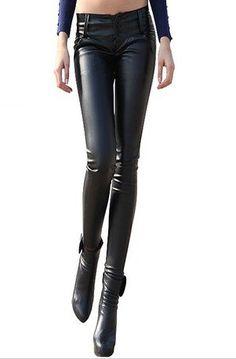 Apparel  Daily Wear Fashion Black Elastic Leather Pants Skinny Pants $39.99