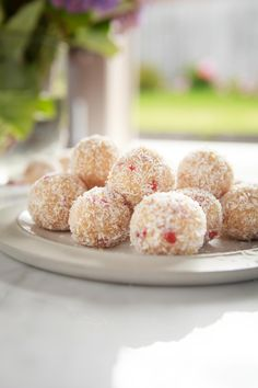 These Raw Lemon Goji Truffles are soft and moist, bursting with sweet coconut, fresh lemon juice and tangy goji berries. A quick-as-a-flash healthy treat.