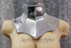 Silver color leather neck corset collar by AtelierSylphecorsets