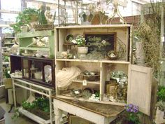 Today's Country Farm & Frills: I love the use of boxes to create vignettes and height in the display, very nice.