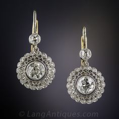 Edwardian Style Diamond Drop Earrings