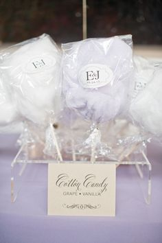 Cotton Candy Weddings-King Plow Wedding by Harwell Photography, Part 2 « Southern Weddings Magazine Cotton Candy Favors, Cotton Candy Wedding, Edible Wedding Favors, Wedding Candy, Party Favors, Favours, Candy Table, Candy Buffet, Purple Wedding