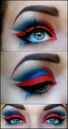 Red and blue halloween makeup
