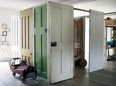 Old door as a room divider, just one idea.