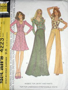 VTG McCalls Misses BOHO Fitted Top, Skirt, Pants Pattern 4223 UC s10 | eBay