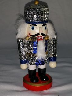 Sequined Wooden Nutcracker Soldier 5-1/2 inch Nutcracker Christmas Decor