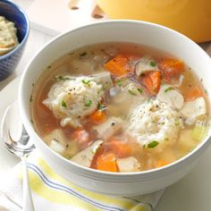 Chicken Dumpling Soup Recipe. I made this tonight. The soup is amazing. The dumplings taste better the next day once they have had time to soak up the flavour of the broth.