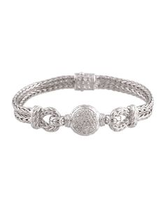 John Hardy Silver Pave Diamond Swirl Chain Bracelet riee2bxw