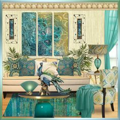 The Tantalizing Teal Peacock Room by truthjc on Polyvore featuring interior, interiors, interior design, home, home decor, interior decorating, Taylor Burke Home, Pier 1 Imports, Urban Outfitters and Villa Home Collection