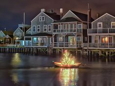 Christmas on Nantucket!  This needs more lighting participation from the buildings