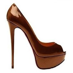 Christian Louboutin Lady-Peep Toe Patent Copper ...