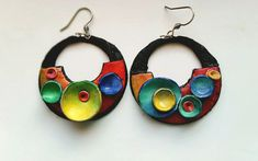 Polymer clay colorful earrings unique handmade by ImpastArte