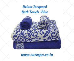 DELUXE JACQUARD – 4 PIECE SET #BATH #TOWELS- BLUE @EUROSPA