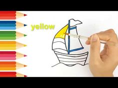 Step by step draw easy How to drawing and coloring a yacht Smart kids only Only Child, Learning Colors, Working With Children, Step By Step Drawing, Coloring For Kids, Easy Drawings, Make It Yourself, Easy Designs To Draw, Simple Drawings