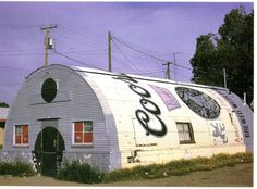 Fred's Tavern in Dodge City, Kansas, is a quonset hut painted like a Coor's beer can.
