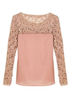 Neutral Pink Crochet Shoulder Top - Unlined Crochet Detailing Top
