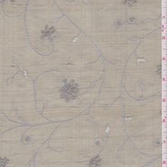 Taupe Embroidered Silk Dupioni - Fabric By The Yard At Discount Prices