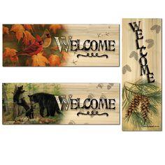 Welcome 3 Piece Graphic Art Plaque Set