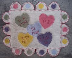 Valentine Candy Penny Rug by JustJills on Etsy, $25.00