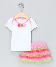 Take a look at this Pink & Green Ruffle Tee & Skirt - Infant, Toddler & Girls  by me, me, me on #zulily today!