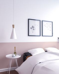 Home Interior Velas Simple two tone wall paint ideas using white and pink.Home Interior Velas Simple two tone wall paint ideas using white and pink. Pink Bedroom Walls, White Wall Bedroom, White Wall Paint, Bedroom Wall Colors, Pink Walls, Bedroom Decor, Classic Wall Paint, Hallway Colours, Two Tone Walls