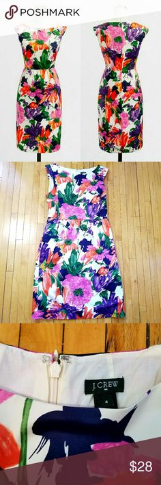 """J. Crew Factory Printed Cora Dress """"A work-perfect shift with a classic silhouette—we love the offbeat boatneck and flattering shirred waist.  Cotton/spandex. Falls above knee. Side-seam pockets. Lined. Back zip. Machine wash."""" Absolutely no defects or signs of wear. J. Crew Factory Dresses"""