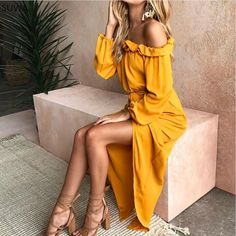 Ruffled Off The Shoulder Maxi Dress Love the color
