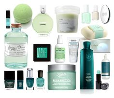 """""""green& blue"""" by lushxoxo ❤ liked on Polyvore featuring beauty, Make, Chanel, Kiehl's, Butter London, JINsoon, Leighton Denny, Deborah Lippmann, Carthusia and Library of Flowers"""