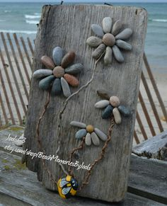 Pebbles on the beach, pebble art, rock art, pebble flowers, flower art, painted rocks, driftwood art, etsy, etsy.com/shop/BeachMemoriesByJools , rock flowers, stone flowers, stone art, painted stones