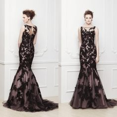 Find More Evening Dresses Information about Custom Made High Neck Open Back Black Lace Appliqued Elegant Mermaid Prom Dress Evening Dresses 2014,High Quality dress tulip,China dress cardigan Suppliers, Cheap dresses casual from Angel Date Dress Store on Aliexpress.com