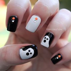 Ghost nails...cute for Halloween!
