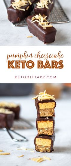 These amazing keto cheesecake bars are made with layers of grain-free and sugar-free granola bars topped with a no-bake keto cheesecake layer all covered in dark chocolate. Low Carb Pumpkin Cheesecake, No Bake Pumpkin Cheesecake, Keto Cheesecake, Chocolate Cheesecake, Chocolate Bars, Raspberry Cheesecake, Chocolate Chips, Sugar Free Granola, Vanilla Recipes