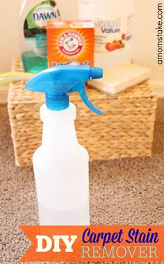 Homemade DIY carpet stain remover - helps easily remove the spots with a simple cheap formula you can make from home.