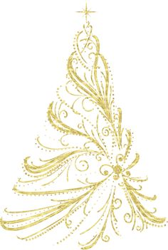 Transparent Golden Decorative Christmas Tree PNG Clipart