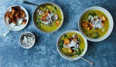 dhal with crispy sweet potatoes and coconut chutney - anna jones Crispy Sweet Potato, Roasted Sweet Potatoes, Veggie Recipes, Vegetarian Recipes, Healthy Recipes, Veggie Dishes, Healthy Meals, Healthy Food, Coconut Chutney