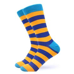 Our sweet yellow & blue striped socks are exquisite. Featuring two shades of blue striped with a yellow background, these socks will give you that motivation to take on anything. Made with 80% Cotton, 17% Nylon, and 3% Spandex, these Unisex socks are perfect for US Size 7.5-12.5 feet. Funky Socks, Crazy Socks, Yellow Socks, Novelty Socks, Striped Socks, Happy Socks, Dress Socks, Yellow Background, Shades Of Blue