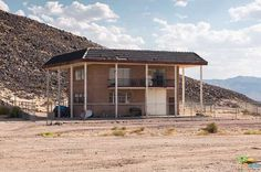 Notice The Overhang Covers The Whole Structure for Shade and Stormy Downpours. Good Model for Multi Rental Unit. #PassiveIncome #RentalProperty #RelestateDevelopments Source: Huell Howser's Volcano-Top Saucer House in the Mojave Desert is For Sale and It's Mindblowingly Amazing - That's Rather Amazing - Curbed LA