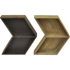 Dot & Bo Taos Chevron Shelf- Set of 2 (3.550 RUB) ❤ liked on Polyvore featuring home, home decor, small item storage, chevron home decor and arrow home decor