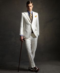 Menswear: Brooks Brothers clothing for men inspired by the 1920s and The Great Gatsby costumes including clothes, shoes, boater hats and accessories...