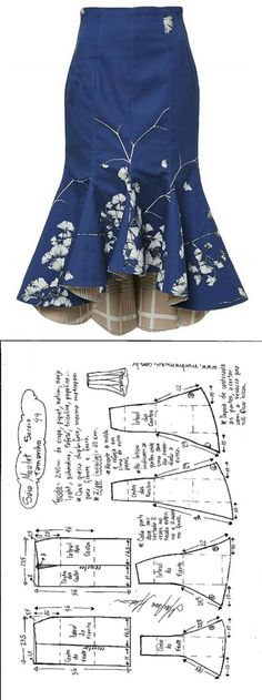 Sewing Skirts Saia Mulet sereia – DIY – molde, corte e costura – Marlene Mukai - Шитье Dress Sewing Patterns, Clothing Patterns, Pattern Sewing, Pattern Drafting, Skirt Patterns, Coat Patterns, Blouse Patterns, Diy Clothing, Sewing Clothes