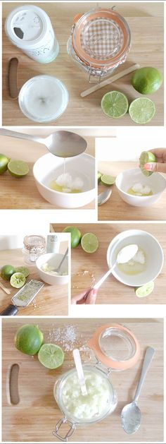 DIY ORGANIC LIME, SEA SALT, COCONUT OIL FOOT SCRUB RECIPE on the #BThoughtful blog. #MadeWithThought #ThoughtfulLiving