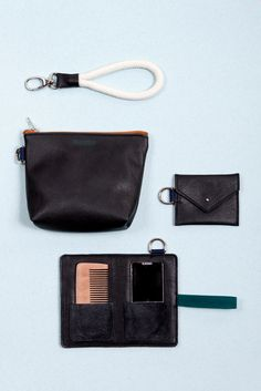 The Apparatus, a set of 3 leather bags. Together they are key for daily survival and include; a make-up mirror, wooden comb, a little 'wallet' and a bigger pouch for your keys, a booklet and phone for example  The Boyscouts | Apparatus black | Studio ZLDA