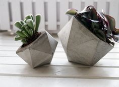 Mini concrete planter handmade cachepot modern by FrauKlarer