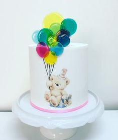 Gifts and Balloons! by Rossana Ávila Beautiful Birthday Cakes, Gorgeous Cakes, Pretty Cakes, Cute Cakes, Bubble Cake, Baby Birthday Cakes, Baby Boy Cakes, Teddy Bear Cakes, Balloon Cake
