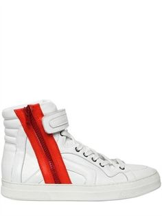 ShopStyle: Pierre Hardy - Leather Zip High Top Sneakers