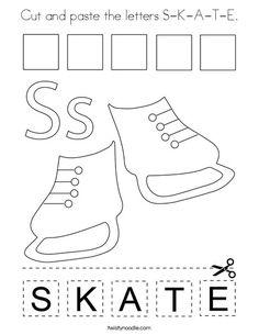 Cut and paste the letters S-K-A-T-E Coloring Page - Twisty Noodle Coloring Pages Winter, Sports Coloring Pages, Winter Is Here, Cut And Paste, Kids Prints, Cursive, Mini Books, Noodle, Letters