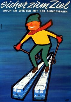 Winter Sport in Germany, 1962 - original vintage poster by Grave listed on AntikBar.co.uk
